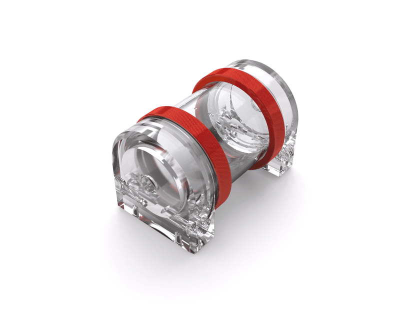 PrimoChill CTR Hard Mount Phase II Reservoir - Clear PMMA - 80mm - Candy Red