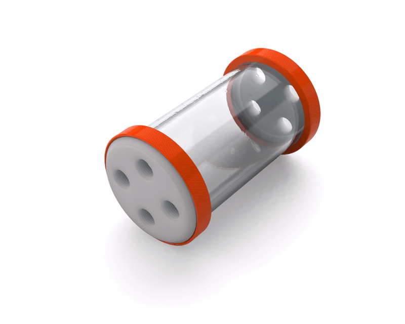 PrimoChill CTR Low Profile Phase II Reservoir - White POM - 120mm - Orange
