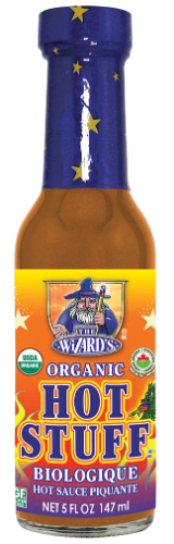 Glass bottle with organic hot sauce in it, a wizard holding a broom is the logo and an organic badge.