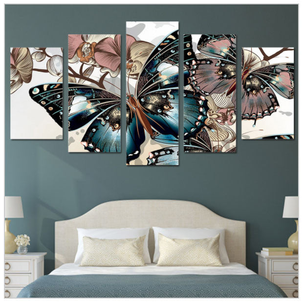 Abstract Floral Butterfly Hd Printed Wall Painting On Canvas Big