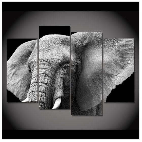 Black And White Elephant Hd Printed Wall Picture Big Crazy Buys