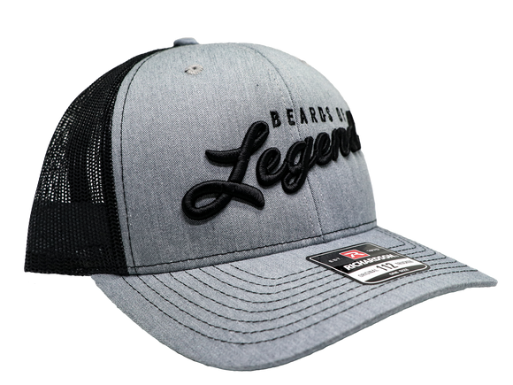 Heathered Grey Beards Of Legend Black Back Mesh Snapback
