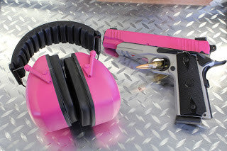DuraCoated handgun and matching headgear