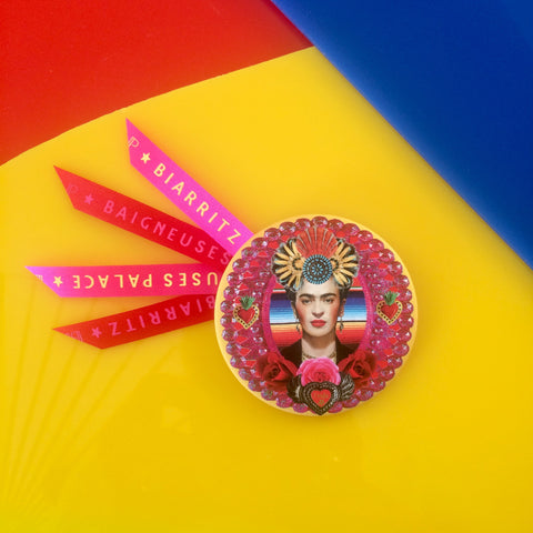 Badge 63mm Frida inca rose