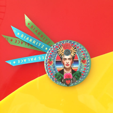 Badge 63mm Frida inca bleue