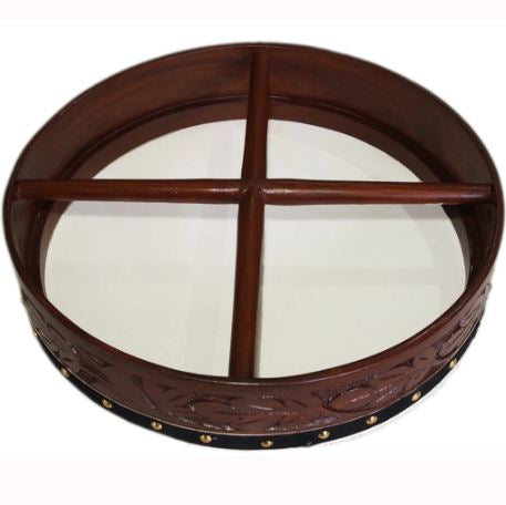 16″ Rosewood Hand Carved Bodhrán Drum with Comfort Cross Bar