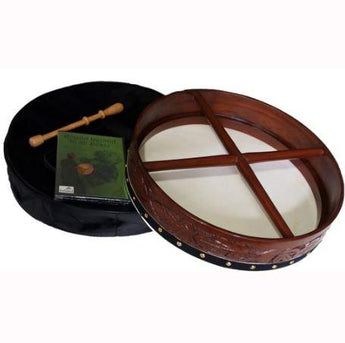 16″ Rosewood Hand Carved Bodhrán Drum with durable Canvas Carry Case, DVD lessons and Tipper