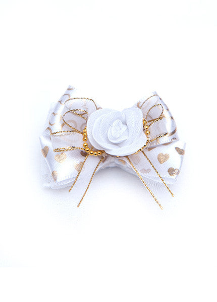 Heart White and Gold Hair Bow