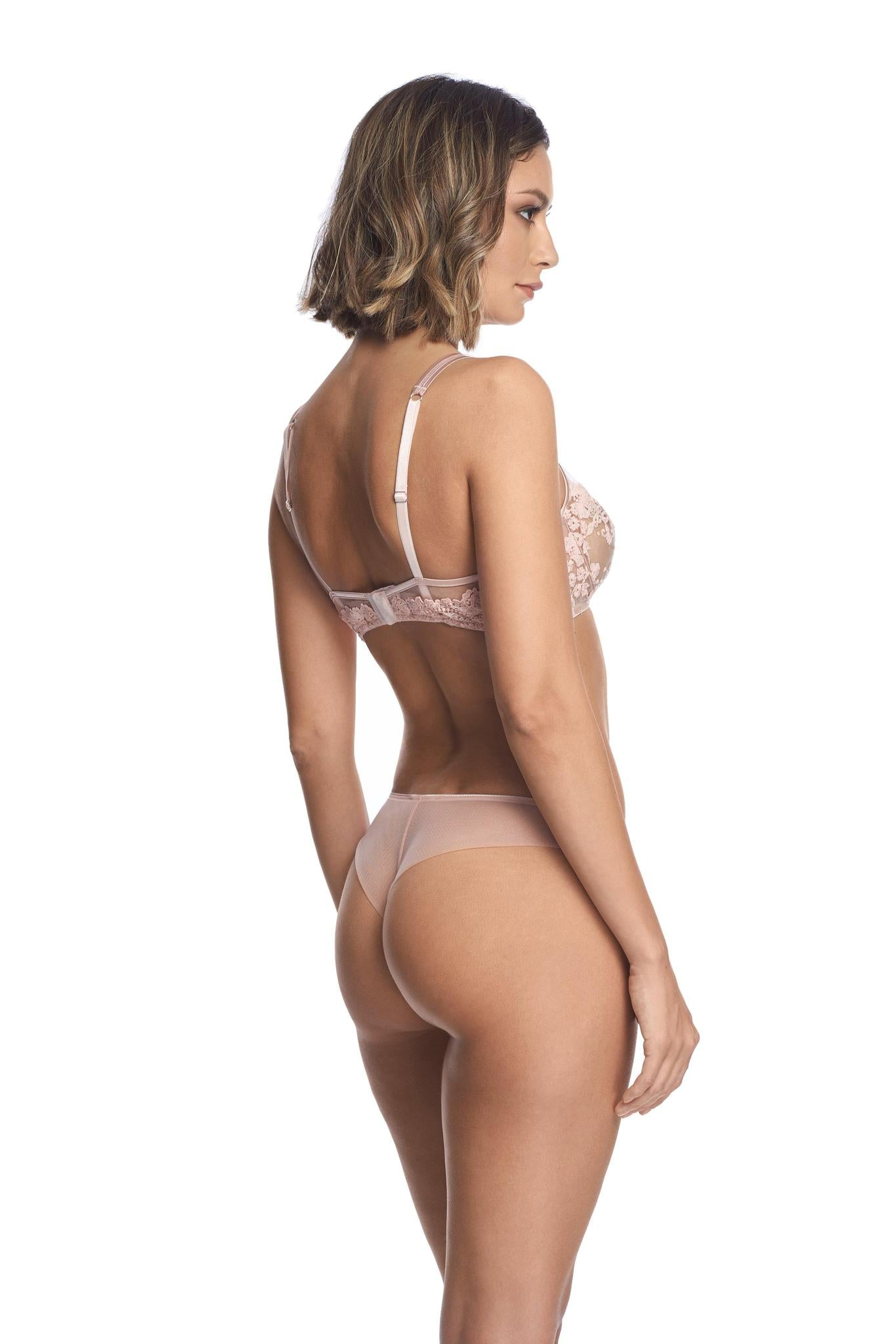Embroidered tulle thong