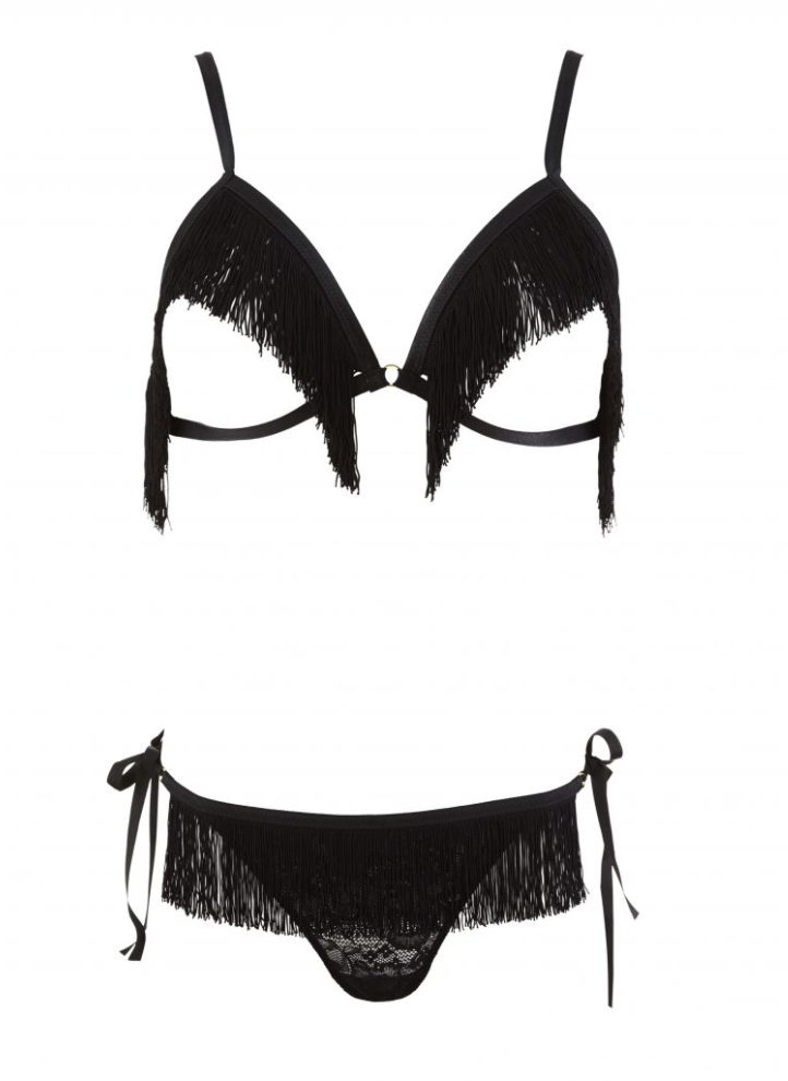 Boite A Desir Fringed Wireless Bra and Panty Set