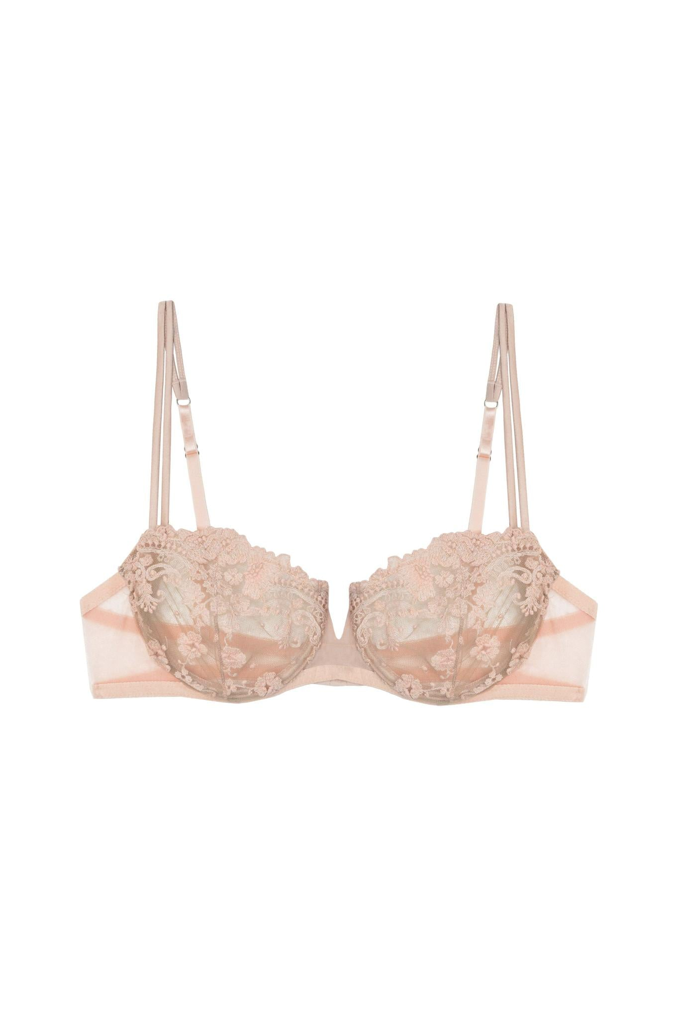 Embroidered tulle balcony bra