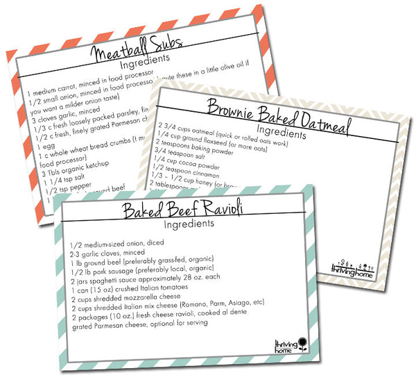 5 Printable Recipe Cards