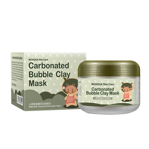 BIOAQUA Kawaii Black Pig Carbonated Bubble Clay Peeling Mask Black Head Remove effective and Moisturizing Clean Face Skin 100g