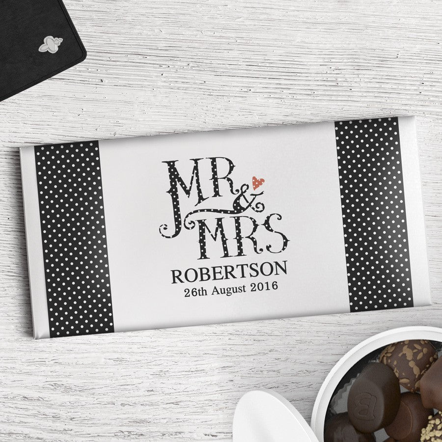 Personalised Dotty Mr and Mrs Chocolate Bar