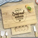 Personalised Large Rectangular Wooden Cheese Board Birthday Gift Set