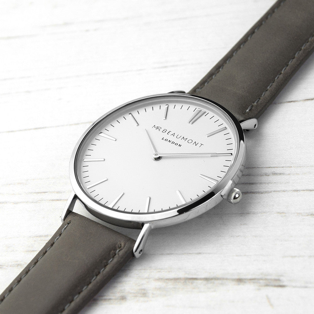 Men's Modern Vintage Personalised Leather Watch In Ash