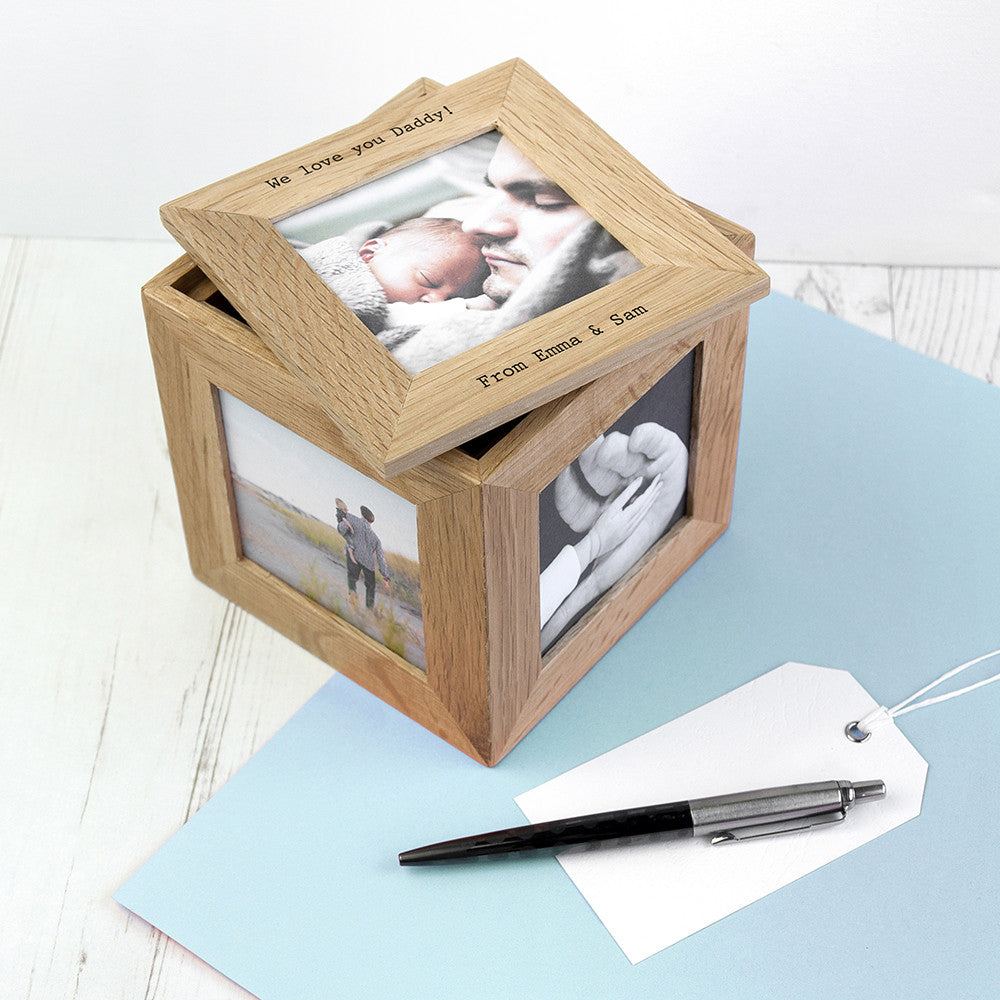 Personalised Oak Wood Photo Cube Keepsake Box