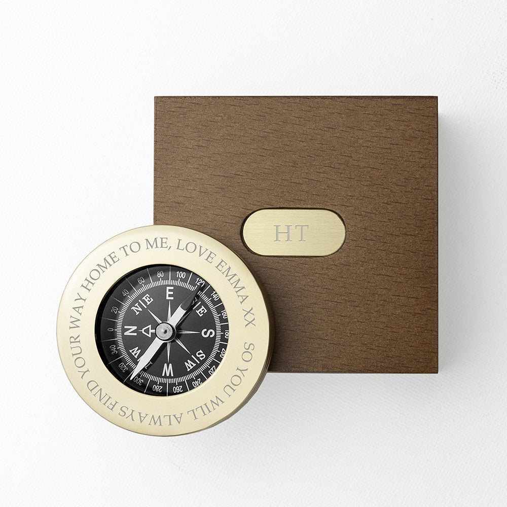 Personalised Brass Travellers Compass with Wooden Birthday Box for Him