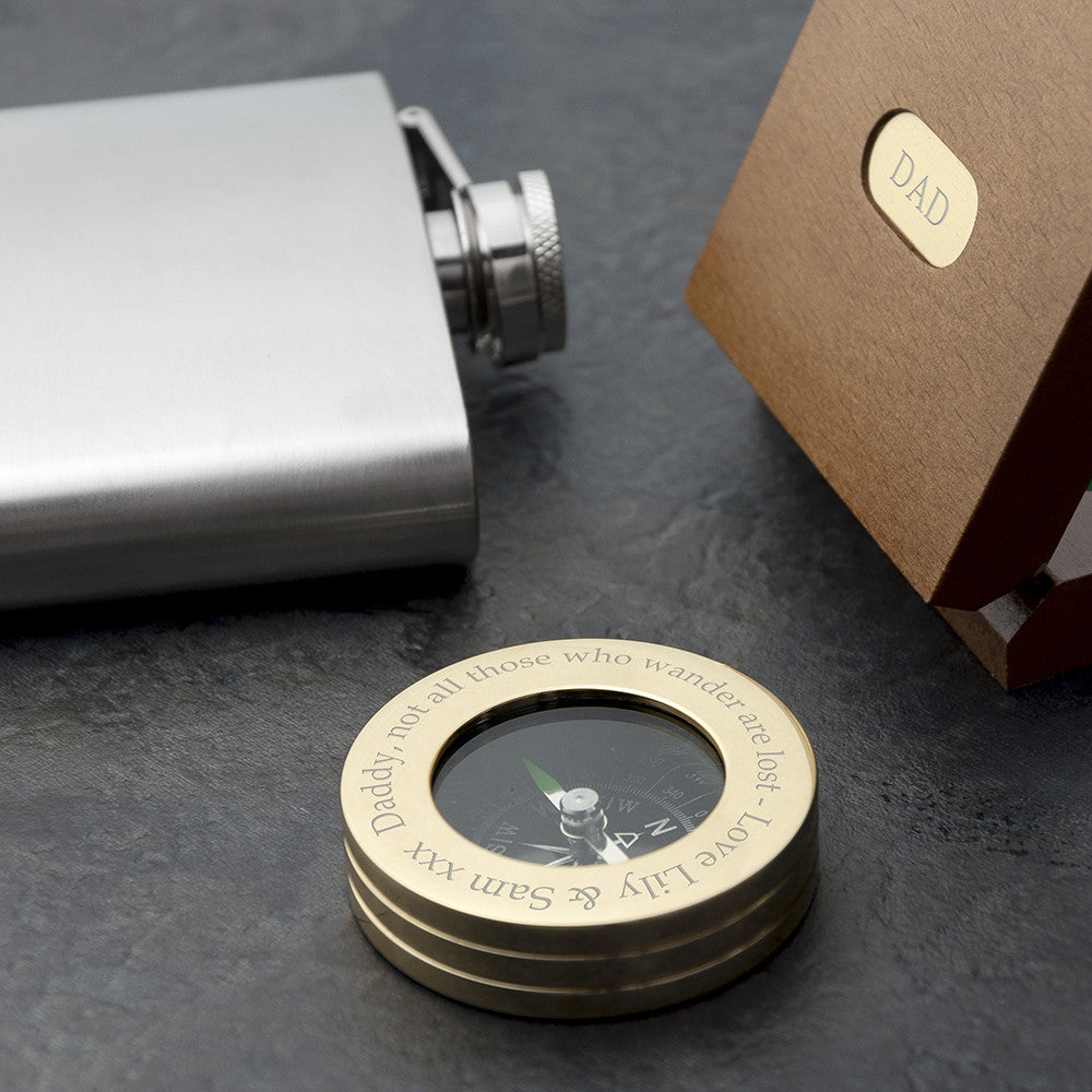 Personalised Brass Travellers Compass with Wooden Gift Box