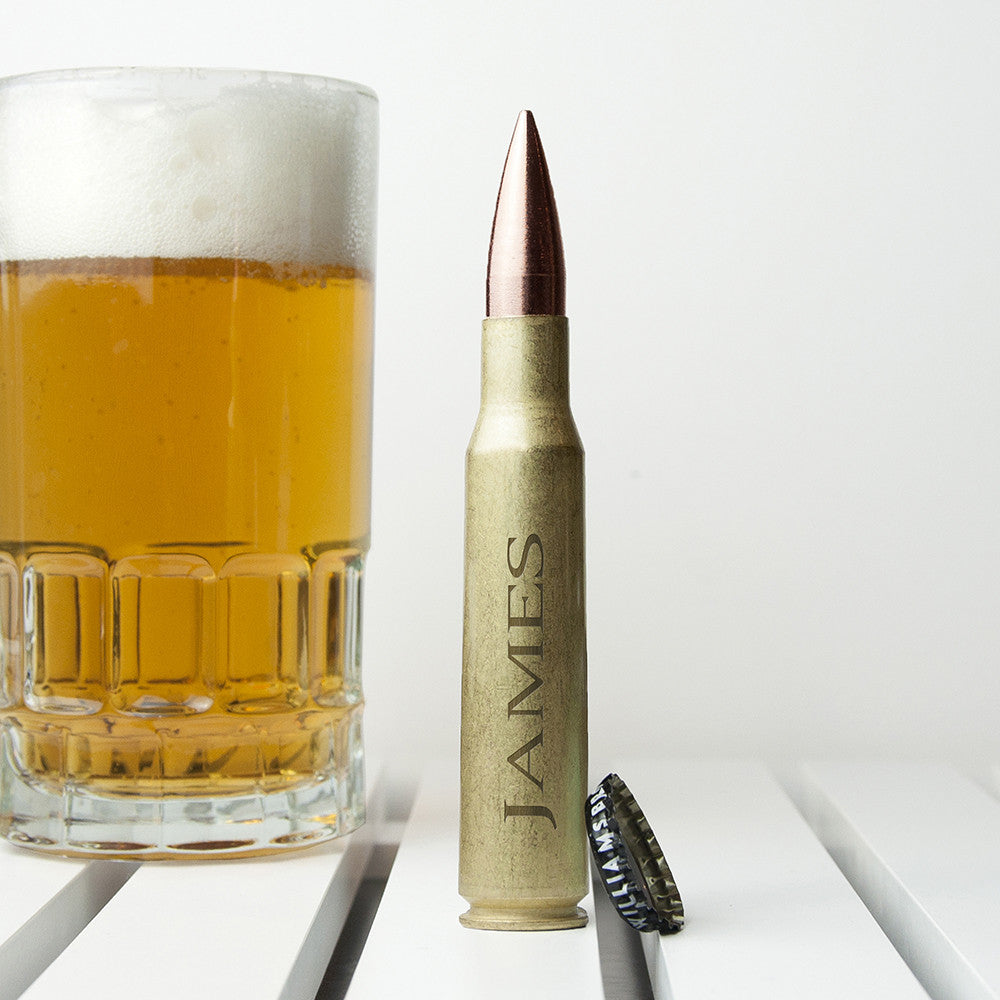 Personalised Father's Day 50 Calibre Bullet Beer Bottle Opener Gift