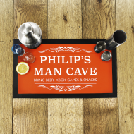 Personalised Gentlemen's Birthday Man Cave Bar Mat Gift for Him