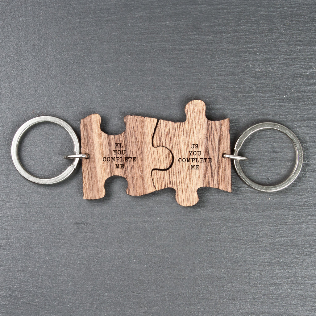 You Complete Me Romantic Engraved Jigsaw Keyring