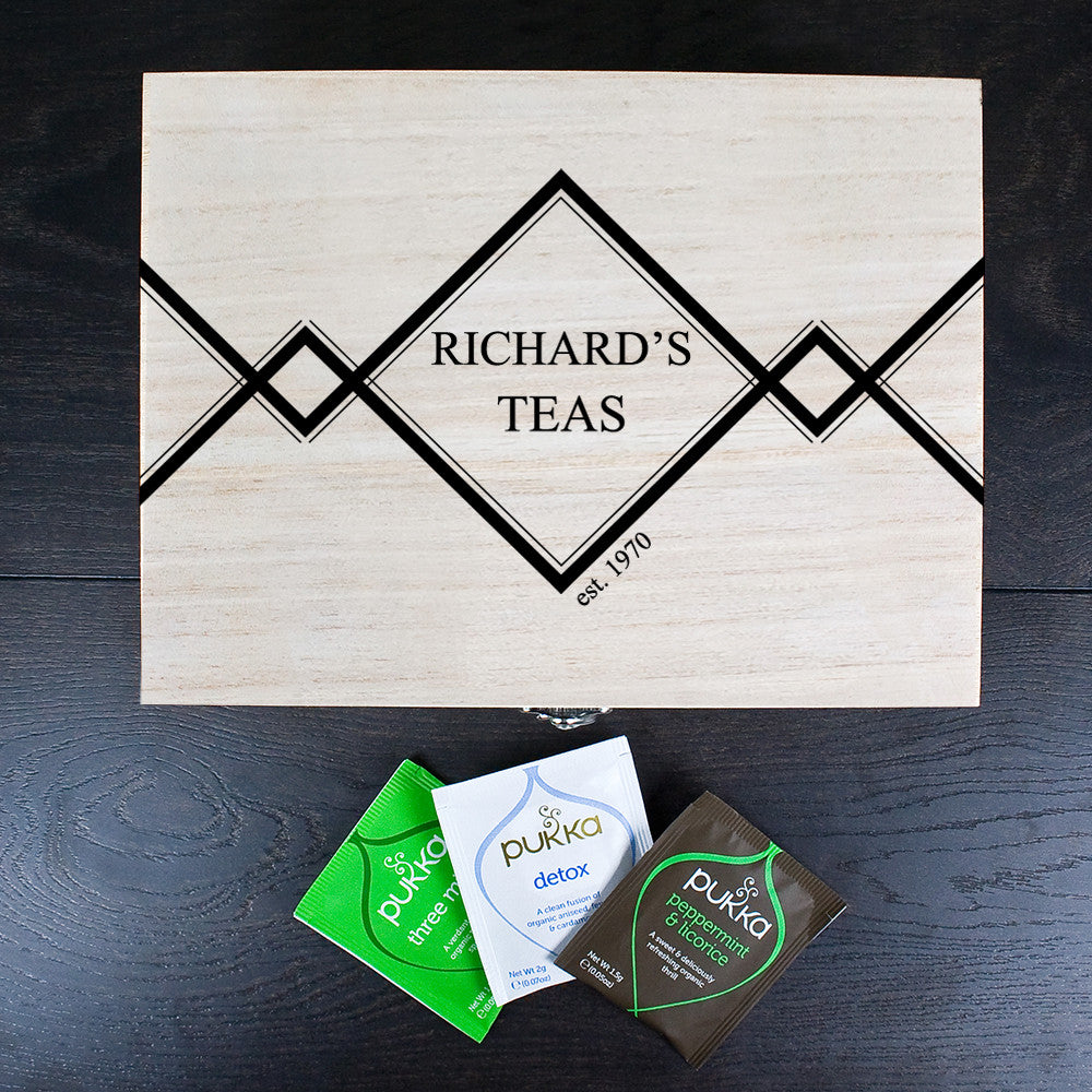 Gentlemen's Teas Personalised Wooden Tea Gift Box