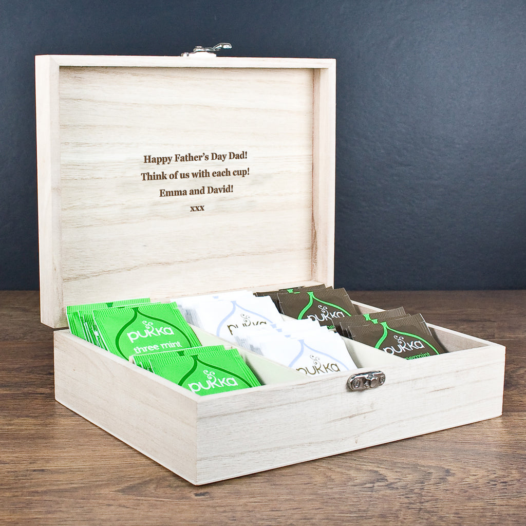 Personalised Gentlemen's Teas Wooden Father's Day Gift Box