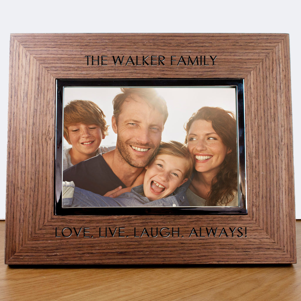 Personalised Contemporary Walnut Engraved Photo Frame