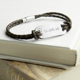 Personalised Men's Statement Leather Bracelet In Brown