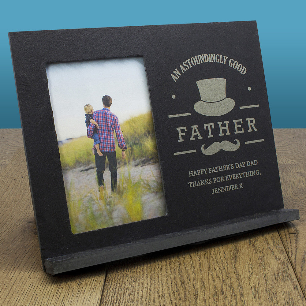 Astoundingly Good Father Personalised Slate Photo Frame Birthday Gift for Dad