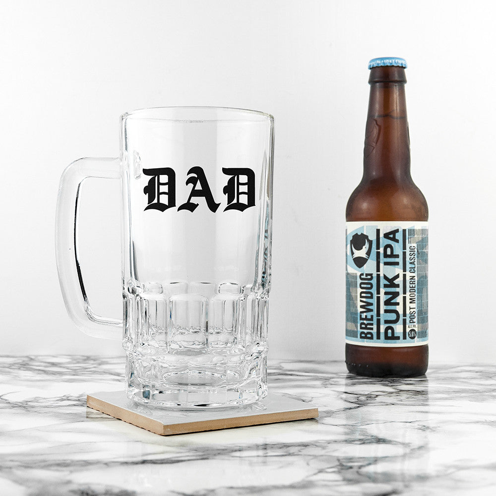 Personalised Father's Day Medieval Text Beer Glass Tankard Gift