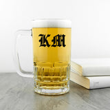 Personalised Medieval Text Monogram Beer Glass Tankard
