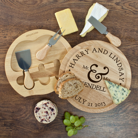 Engraved Mr and Mrs Classic Cheese Board Wedding Gift Set
