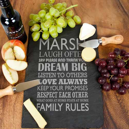 Personalised Large Family Rules Slate Board Gift