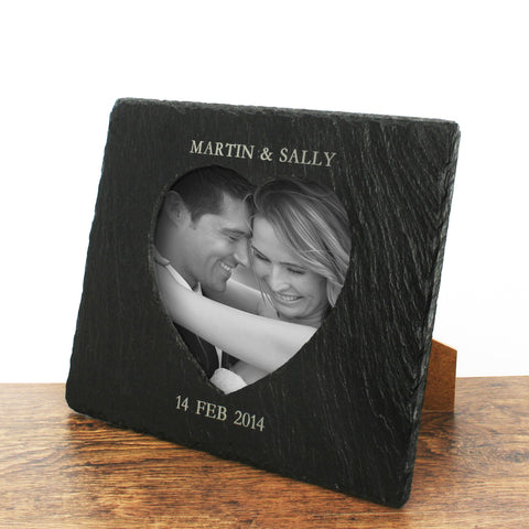 Personalised Heart Slate Photo Frame Wedding Gift