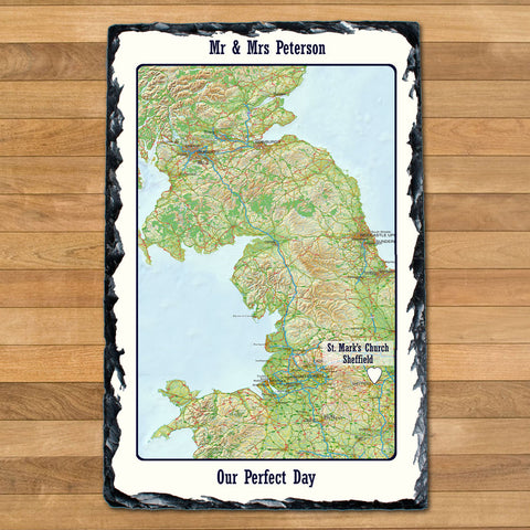 Personalised Special Places Slate Wedding Anniversary Gift