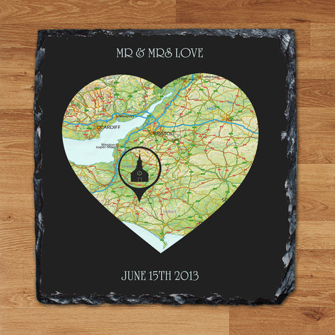 Our Special Place Personalised Slate Heart Wedding Anniversary Gift