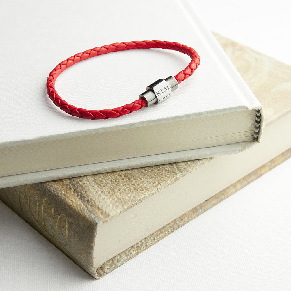 Personalised Unisex Woven Leather Bracelet In Scarlet Red