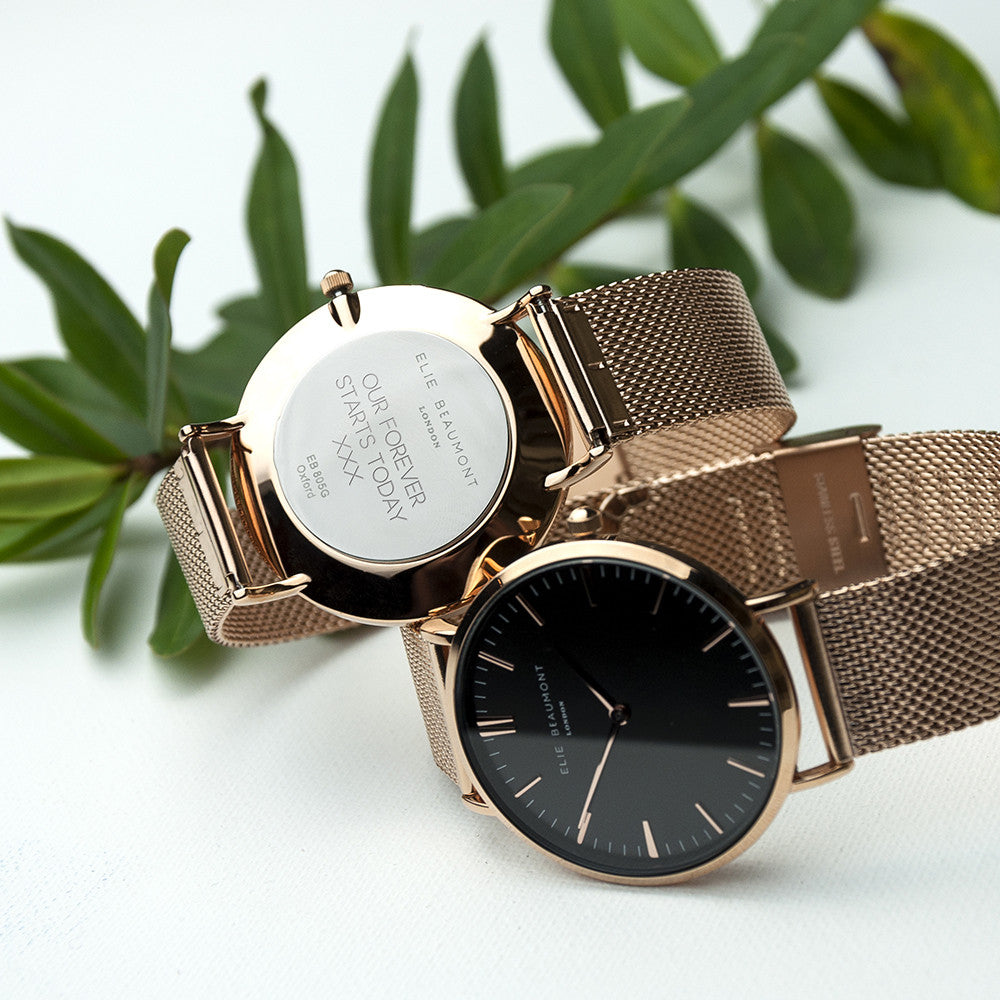 Personalised Rose Gold Mesh Strapped Women's Watch With Black Dial