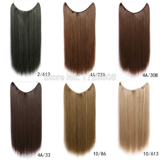 Straight Invisible Line Heat Resistant Synthetic Hair Extensions