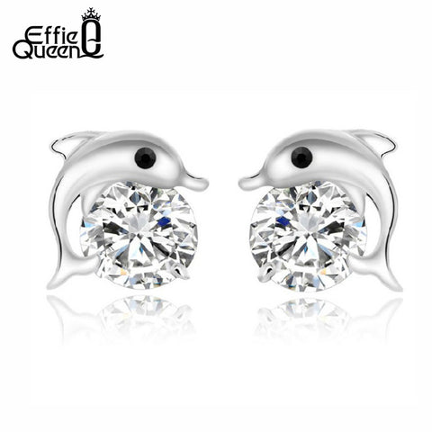 Effie Queen Dolphin Stud Earrings with AAA Austrian CZ Crystals