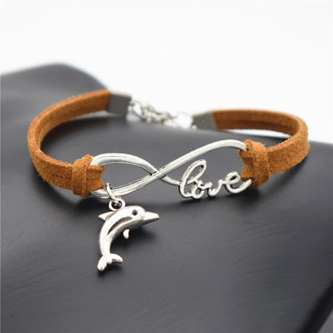 New Arrival - Hand-Made Silver Dolphin Infinity Leather Bracelet - FREE Just Pay Shipping