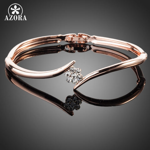 AZORA Rose Gold Austrian Crystal Bangle Bracelet