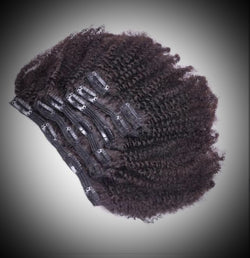 16in Kinky Curly Clip In Human Hair Extensions