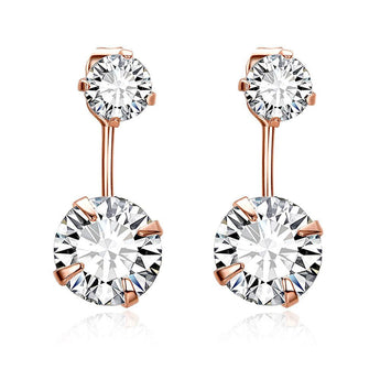 Rose Gold Plated Duo Crystal Drops