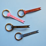 'Key to Success' Leather Keychain