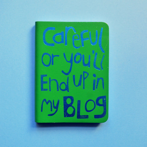 'Careful' Journal in green leather & metallic