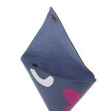 Abstract Samosa Purse in Navy & Metallic