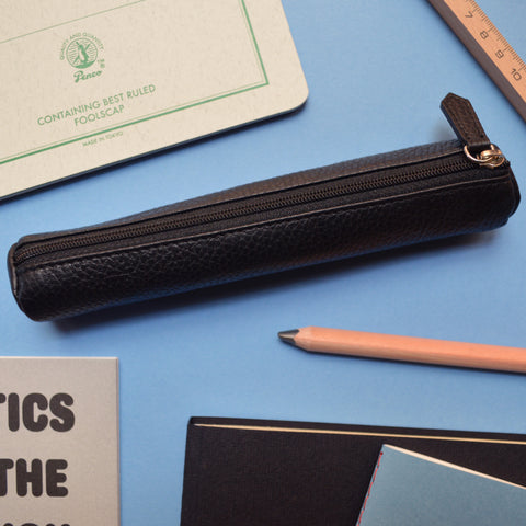 The black leather pencil case
